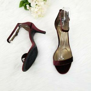 Bandolino Madia Burgundy Velvet Ankle Strap Heels